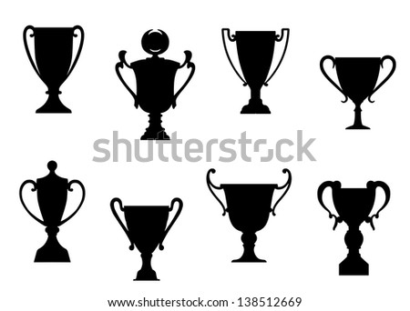Sport awards and trophies set for heraldry or success concept design or idea of logo. Jpeg (bitmap) version also available in gallery - stock vector