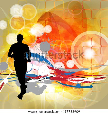 Sport background, marathon runner, vector - stock vector