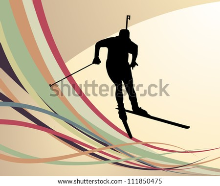 Sport background with biathlon athlete vector illustration stock