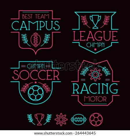 Sport badges and icons in thin line style. Graphic design for t-shirt. Neon colors print on a black background - stock vector