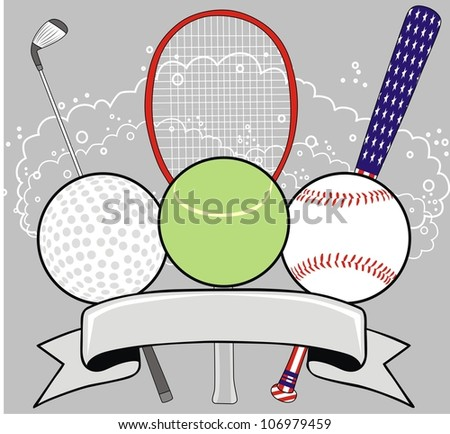sport ball and ribbon