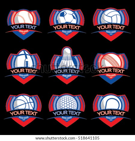 Sport ball emblems on isolated background