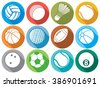 sport ball flat icons (beach ball, tennis ball, american football ball, soccer ball, volleyball ball, basketball ball, baseball ball, bowling ball, cricket ball, badminton ball, billiard ball) - stock vector