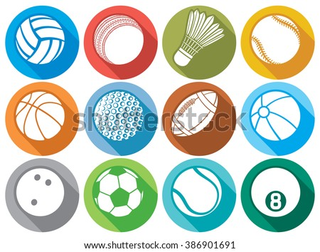 sport ball flat icons (tennis, american football, soccer, volleyball, basketball, baseball, bowling, cricket, badminton, billiard) - stock vector