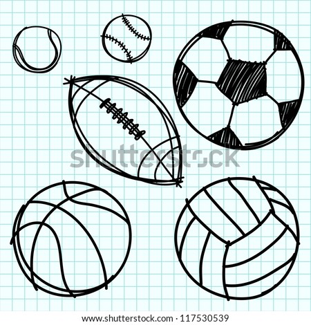 sport ball hand draw on blue graph paper - Sports Drawing Pictures