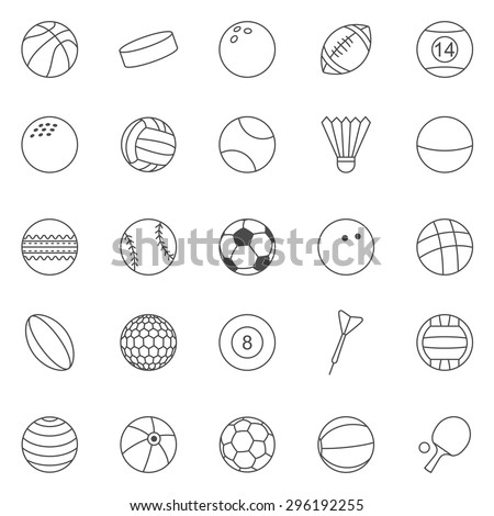 Sport Ball line icons set.Vector - stock vector