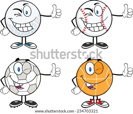 Sport Ball Mascot Cartoon Character Giving A Thumb Up. Vector Collection Set - stock vector