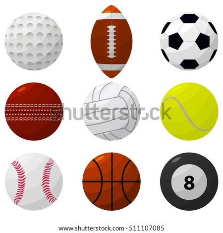 Sport Ball Set for Popular Different Games. Flat Design Style. Vector illustration of football, tennis, volleyball, soccer, rugby, basketball, gulf, bowling icon Cartoon collection