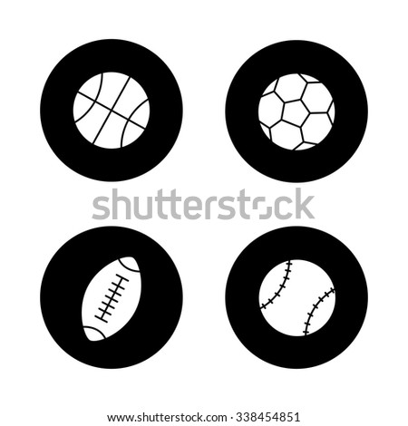 Sport balls black icons set. Basketball, soccer, baseball, american football and rugby. White silhouettes illustrations. Active, team play games pictograms. Vector logo concepts