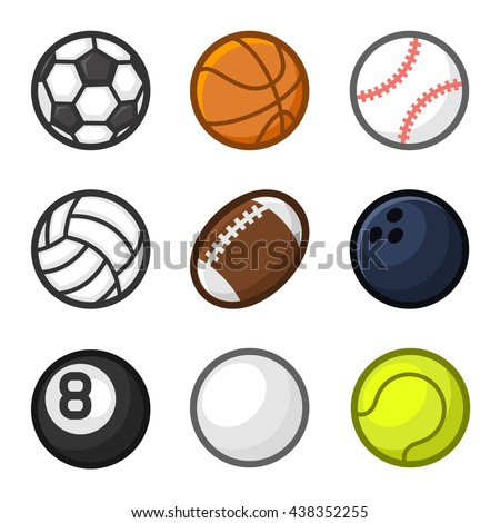 Sport Balls Cartoon Style Set on White Background. Vector illustration
