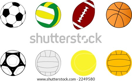 sport balls clipart stock vector 2249580 shutterstock rh shutterstock com  sports equipment clip art free