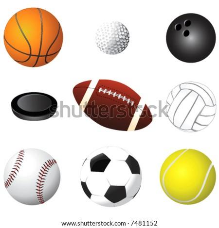sport balls detail vector - stock vector