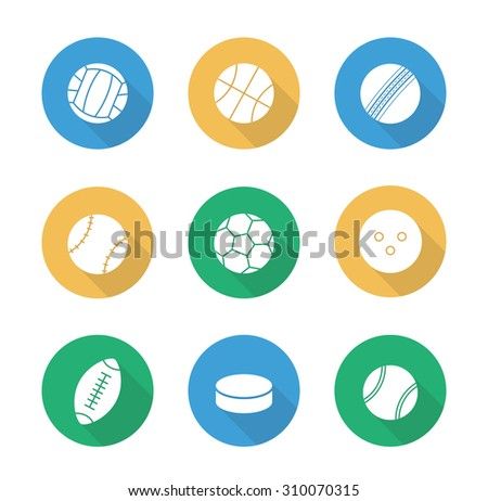 Sport balls flat design icons set. Active lifestyle team play games. Football and soccer long shadow silhouettes symbols. Leisure recreational equipment illustrations. Vector infographic elements - stock vector