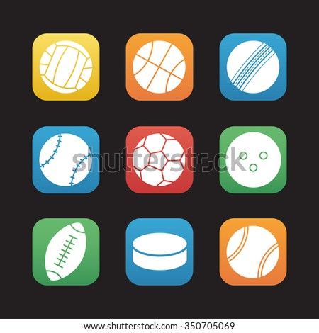 Sport balls flat design icons set. Soccer and american football, basketball and tennis team play games symbols. Hockey puck and bowling ball. Web application graphic interface buttons. Vector  - stock vector