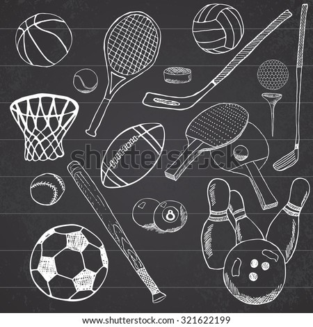 Sport balls Hand drawn sketch set with baseball, bowling, tennis football, golf balls and other sports items. Drawing doodles elements. collection, isolated on white background. - stock vector