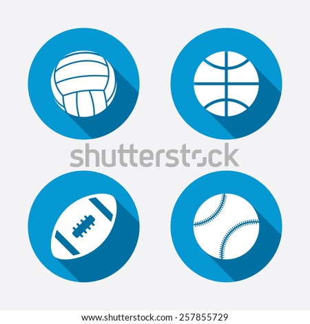 Sport balls icons. Volleyball, Basketball, Baseball and American football signs. Team sport games. Circle concept web buttons. Vector - stock vector