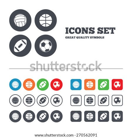 Sport balls icons. Volleyball, Basketball, Soccer and American football signs. Team sport games. Web buttons set. Circles and squares templates. Vector - stock vector