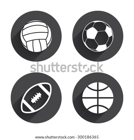Sport balls icons. Volleyball, Basketball, Soccer and American football signs. Team sport games. Circles buttons with long flat shadow. Vector
