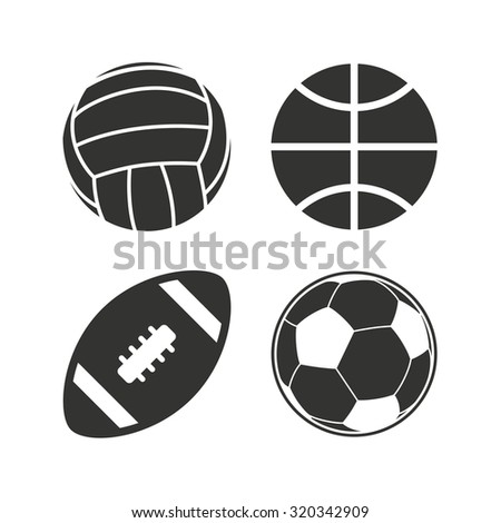 Sport balls icons. Volleyball, Basketball, Soccer and American football signs. Team sport games. Flat icons on white. Vector