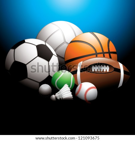sport balls on background - stock vector