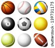 Sport balls on white background. Vector illustration. - stock