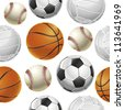 Sport Balls Set Seamless pattern. Vector illustration - stock vector