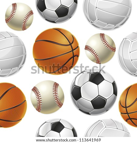 Sport Balls Set Seamless pattern. Vector illustration - stock vector