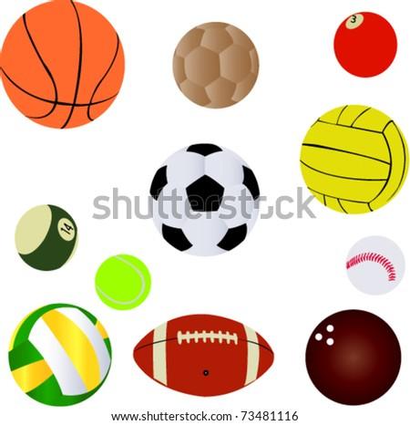 sport balls set - Vector - stock vector