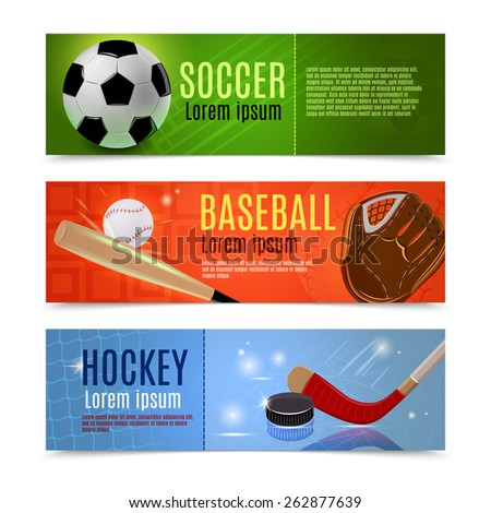 Sport banner flat horizontal set with soccer baseball hockey accessories isolated vector illustration - stock vector