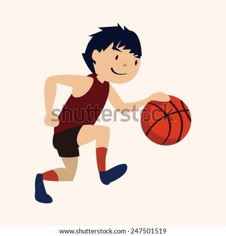 sport basketball athlete, flat icon  - stock vector