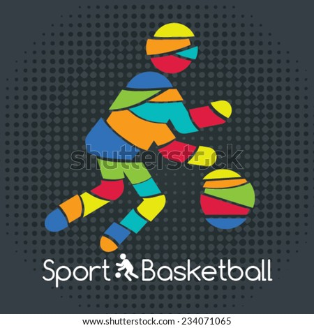 Sport Basketball. Vector Illustration of a basketball player. - stock vector