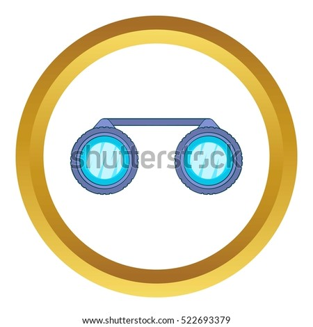 Sport binoculars vector icon in golden circle, cartoon style isolated on white background
