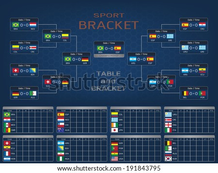 Sport Bracket and Score Table with National Flags - stock vector