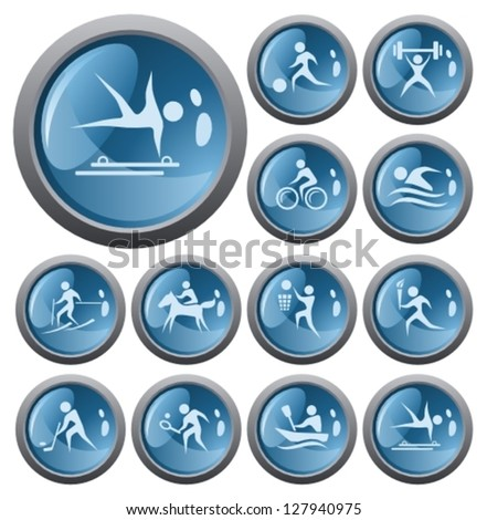 Sport button set - stock vector