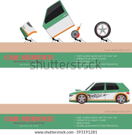 Sport car body parts components. Delivering service. Tuning and repairing of racing car. Web page layout design vector. Car service works concept. Vector illustration, website, promotion, banner - stock vector