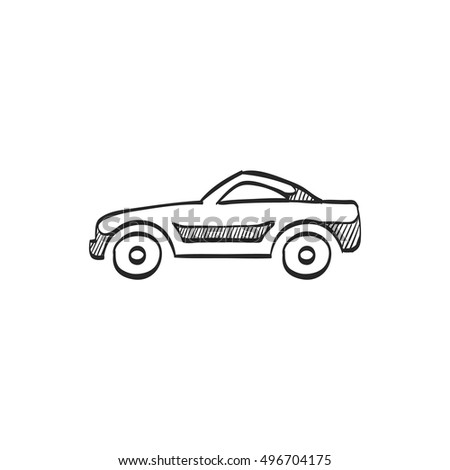 Sport car icon in doodle sketch lines. Luxury speed coupe automotive
