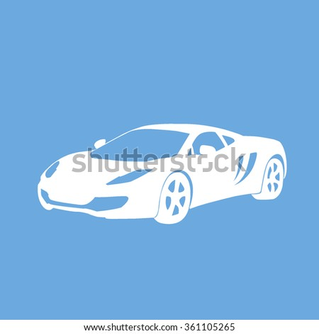 Sport car icon on skyblue background for web or application vector illustration