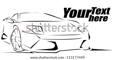 Sport Car silhouette background - stock vector