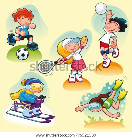Sport characters with background. Cartoon vector illustration. - stock vector