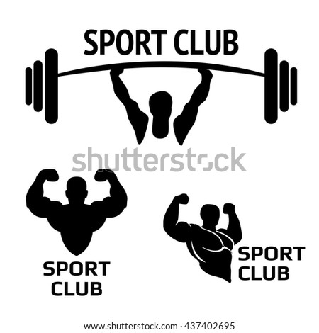 Bodybuilding Logos Emblems Design Element Sports Icons And Elements Bodybuilder