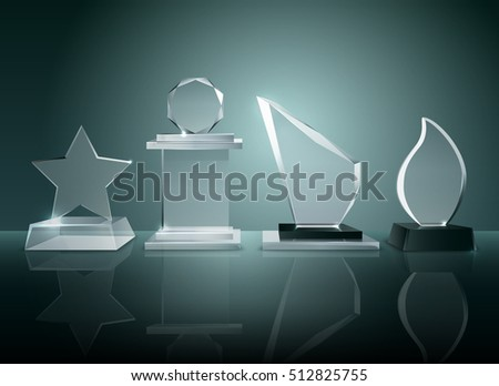 Sport competitions glass trophies prizes collection on transparent reflective surface realistic image with dark shadowy background vector illustration