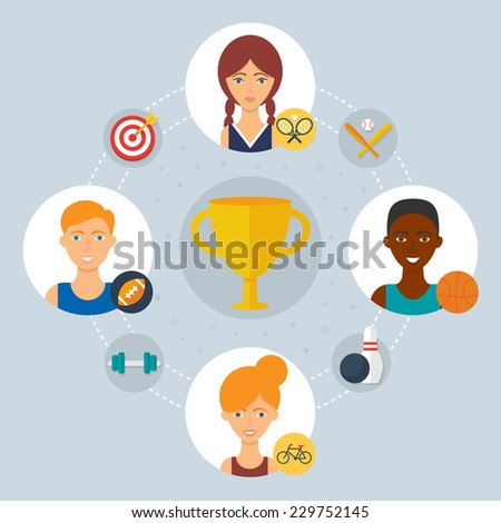 Sport concept - collaboration of professionals. Vector illustration, flat style  - stock vector