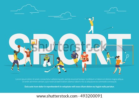 Sport concept illustration of young people playing basketball, hockey, golf and football. Flat design of guys and women participating in competition near big letters