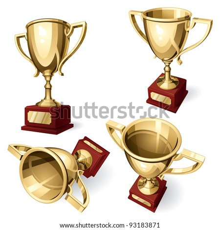 Sport Cup. Set of Four Views. Isolated on White Background. Vector Illustration - stock vector