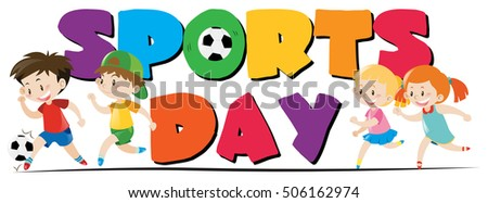 sport day theme with kids playing sports illustration - Sports Images For Kids
