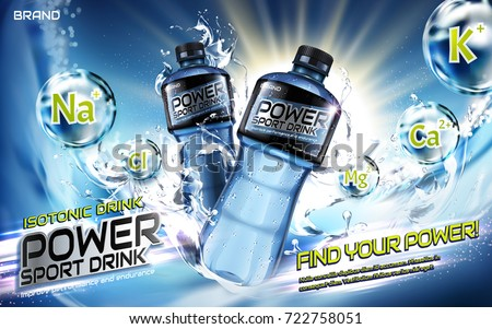 Sport drink ads, splashing liquids with chemical elements in 3d illustration, blue background