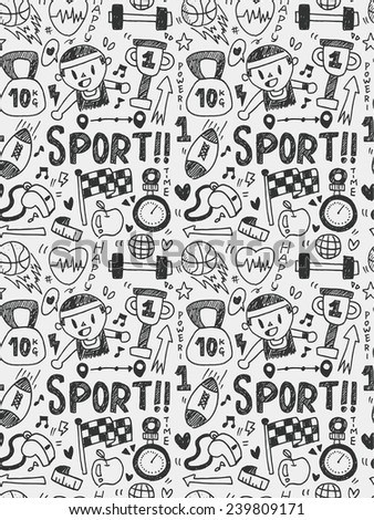 Sport elements doodles hand drawn line icon, eps10 - stock vector
