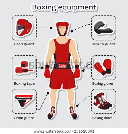 Sport equipment for boxing martial arts with sportsman - stock vector
