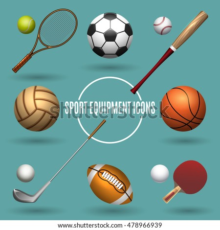 Sport equipment icons. Sports elements vector illustration