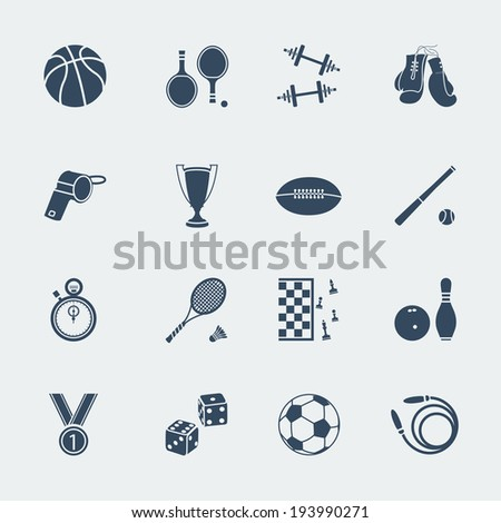 Sport equipments of flat design.Vector isolated for web - stock vector